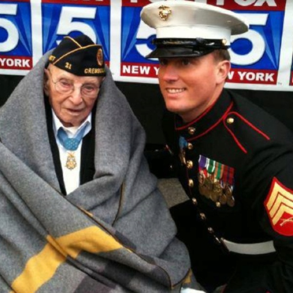 Oldest and youngest living Medal of Honor recipients...(95 yr old Nicholas Oresko-US Army; 23 yr old Dakota Meyer-US Marine Corp)  Thank you to all the men and women serving in the military.