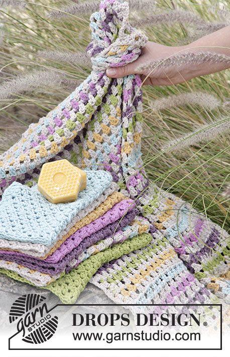"""Bath Time Fun by DROPS Design - Ensemble DROPS: torchon et lavettes au crochet, en """"Cotton Light"""