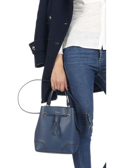 Stacy leather drawstring bag Blue by FURLA