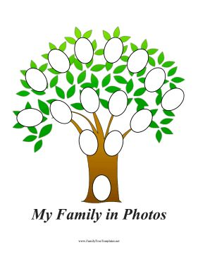 Cut out pictures of family members and decorate the branches of this printable family tree with oval photo frames. Just cut out pictures of your ancestors and glue them to the tree. Free to download and print
