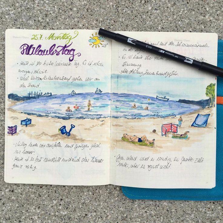 Ein weiterer Eintrag aus meinem Urlaubstagebuch. Noch ein schöner Tag am Strand, heute ist das Wetter schlechter und übermorgen gehts wieder heim. Möp. . Another day in my travel journal. . #moments #meer #sketch #sketchbook #traveldiaries #illustration #bujojunkies #germanbujojunkies #plannerlove #planerliebe #lettering #dailydoodle #leuchtturm1917 #jottbook