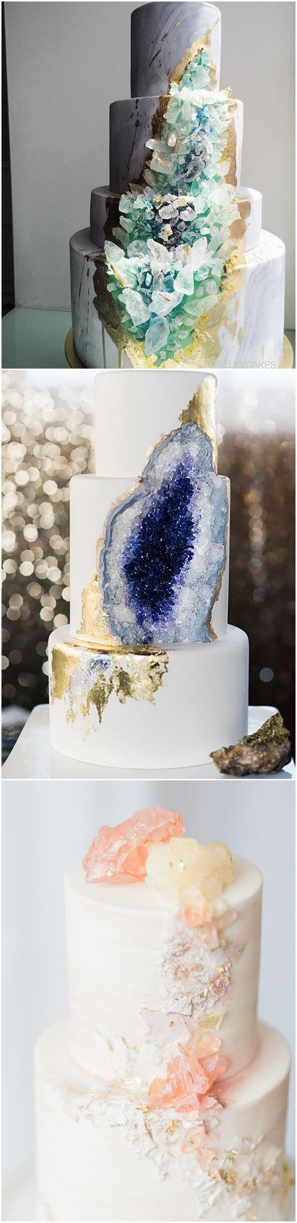 unique Geode and Quartz Wedding Cakes