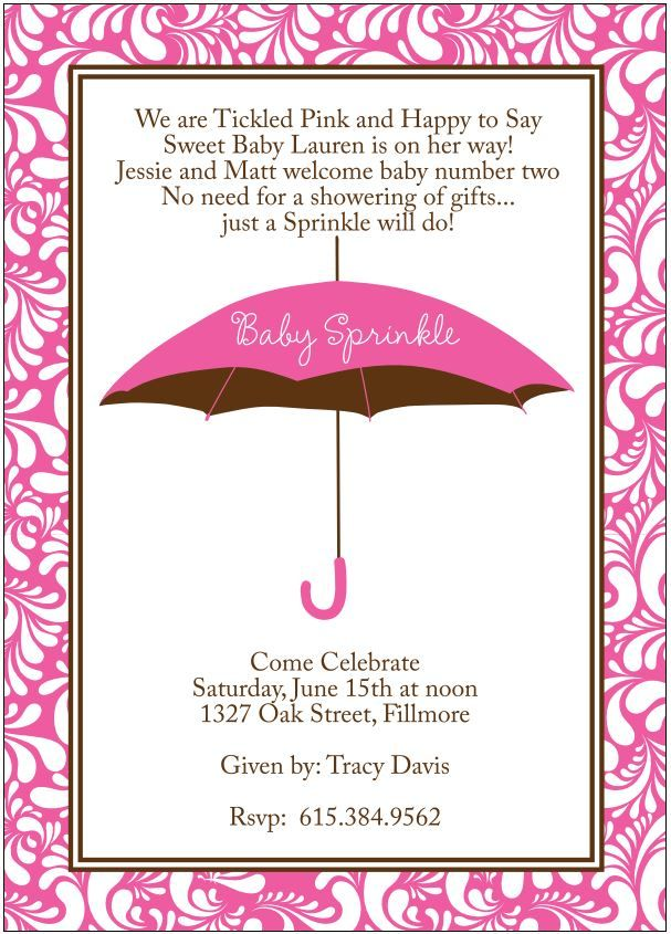High Quality Baby Girl Sprinkle Shower Invitation To Welcome Second Baby. Modern Pink  Umbrella With Swirls Border