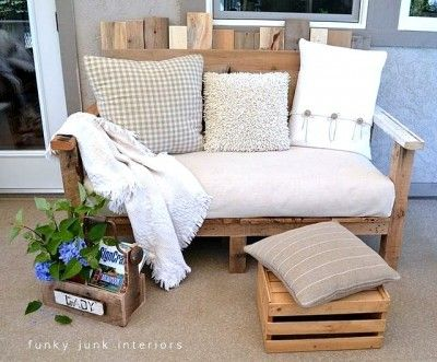 Repurposing pallets as porch sofa, footrest, magazine rack, and flower pot
