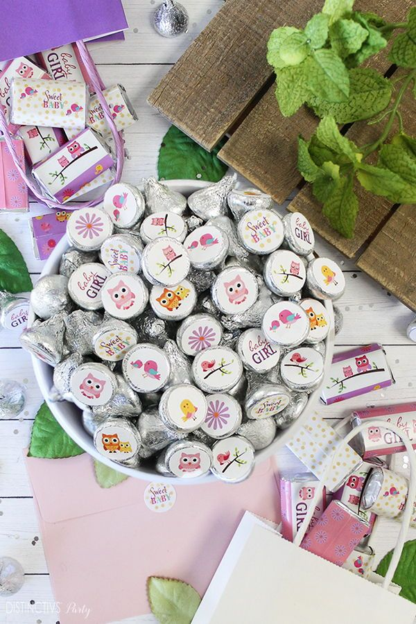 Cute Owl And Tweet Themed Baby Shower Candy Sticker Favor Ideas