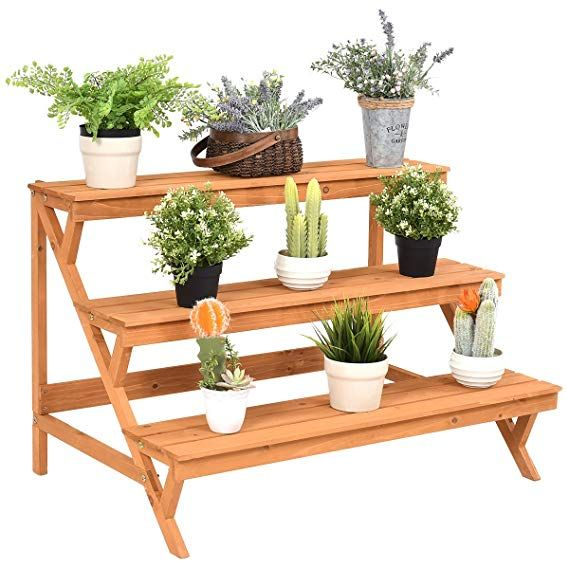 Amazon Com Giantex 3 Tier Plant Stand Flower Pot Holder Display Rack Stand With Step Design Yellow Gateway Wood Plant Stand Flower Pot Holder Plant Stand