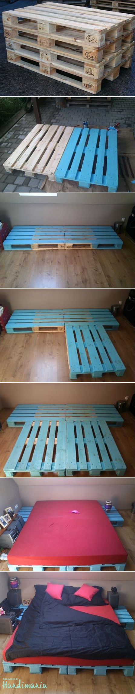 A DIY bed made out of EUR-pallets: cheap (providing you already have a mattress) and easy to do #palette