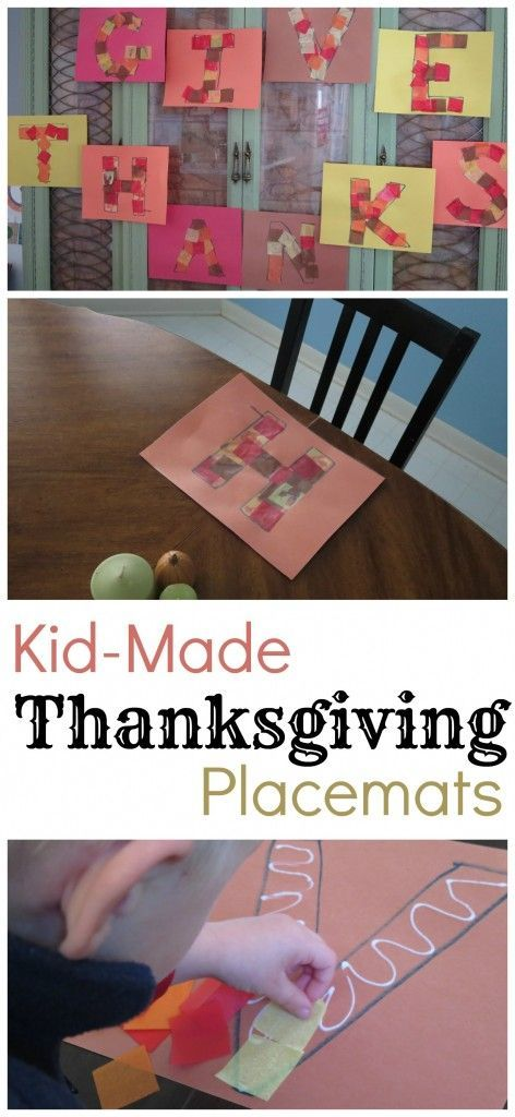 Thanksgiving Placemats that KIDS can make! Simple and festive. Bless the whole family! And it can double as a Thanksgiving banner!
