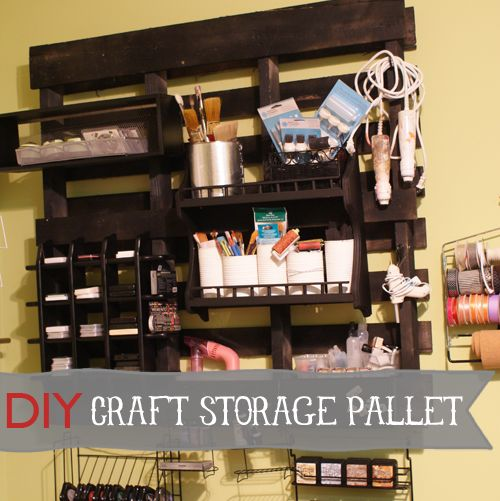 Wood Pallet Storage DIY; Craft room makeover on the cheap from @savedbyloves