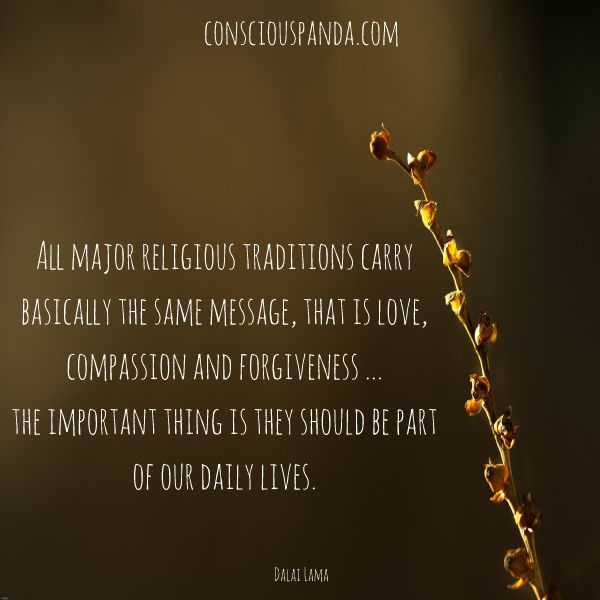 """All major religious traditions carry basically the same message, that is love, compassion and forgiveness... The important thing is they should be a part of our daily lives."" - Dalai Lama"