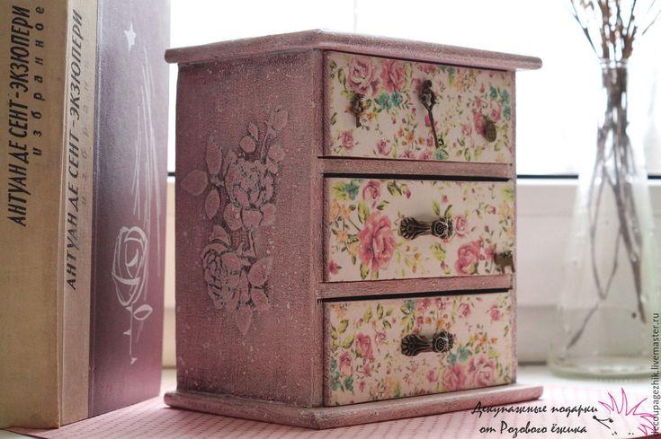 Купить Мини-комод для украшений в технике декупаж Розовые сны - кремовый, мини-комодик