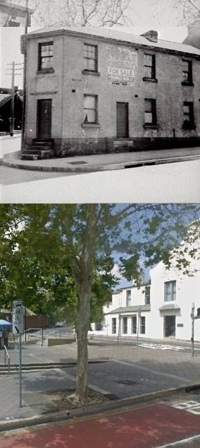 The corner of Oxford and Young Streets, Paddington in 1953 and 2014. [1953 - Sydney City Image Library>2014 - Google Street View. By Phil Harvey]
