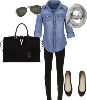 Fall - Cute casual: Jean shirt/black leggings or black skinny jeans/flats/black purse/sweater scarf by bbooky