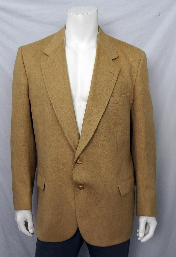 Beige Handmade 100% Camel Hair Blazer Sportscoat Elbow Patch Made in England 46 #Moores #TwoButton