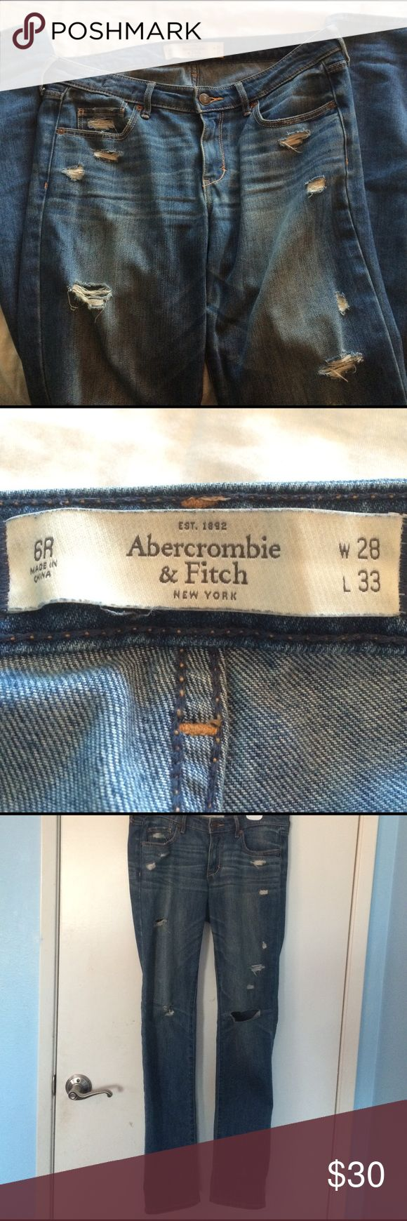 Abercrombie and Fitch skinny distressed jeans These jeans look great with the hems at the bottom folded up because the calves of the jeans are looser than the top Abercrombie & Fitch Jeans Skinny