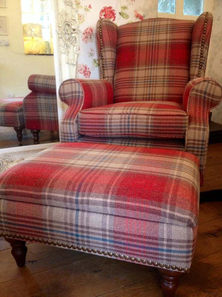New Sherlock Next Wing back chair and footstool !! Laura Ashley wall paper sample behind...Geranium cranberry! Possible choice?!