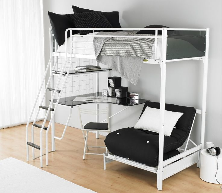 white and black bunk bed with desk