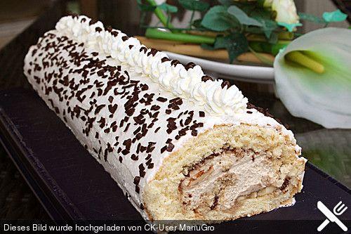 Biskuitrolle mit Nutella - Cappuccinosahne, ein tolles Rezept aus der Kategorie Kuchen. Bewertungen: 49. Durchschnitt: Ø 4,6.