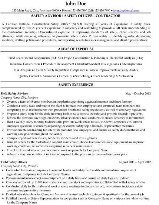 this safety officer resume sample