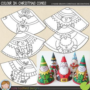 Colour In: Christmas Cones, paper santa, snowman, reindeer, télapó, hóember, szarvas, manó, papír