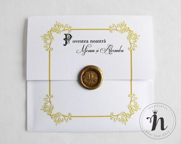 "Invitatii nunta ""Povestea noastra"" cu sigiliu auriu si plic personalizat – ""LAURA"""
