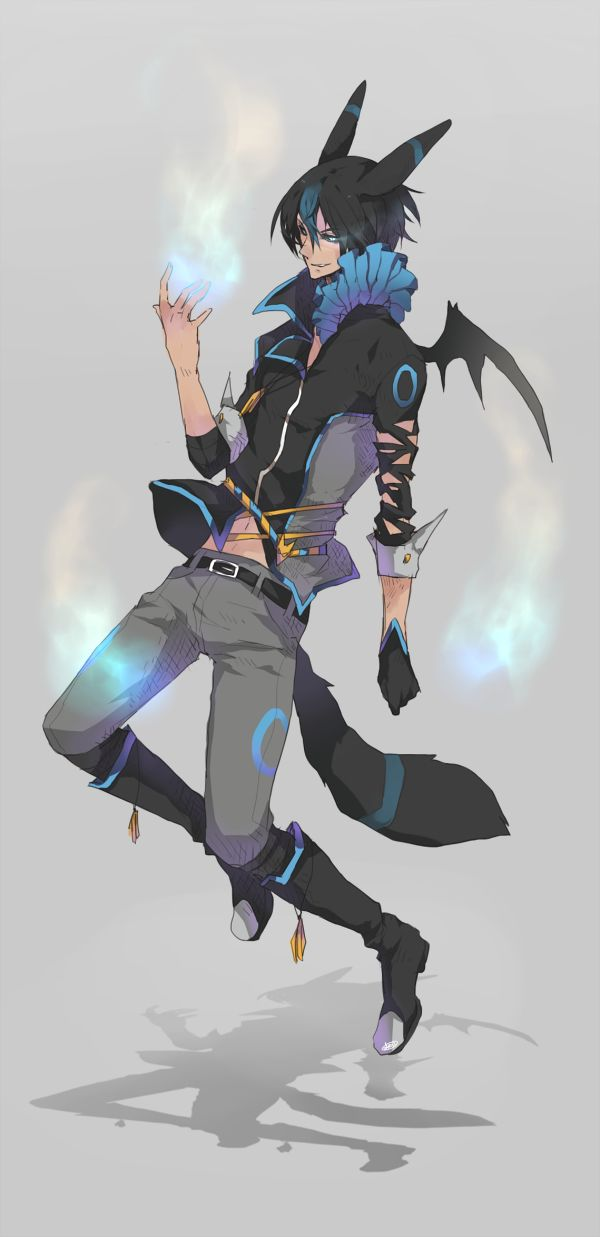 Umbreon human form, I love the body language. It along tells you so much