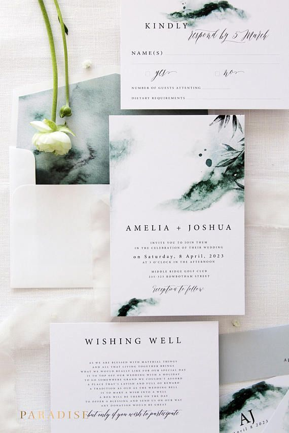 Joselyn Aquarell Hochzeitseinladung Set Invitat