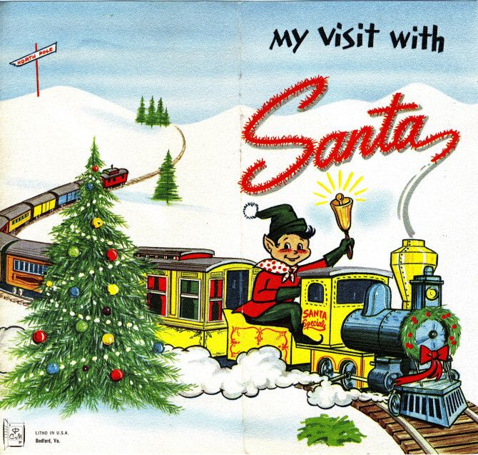 """The 1968 cover of a """"My Visit with Santa"""" folder from Harris Department Store in Riverside. The Riverside Plaza store was known for elaborate Christmas window displays."""