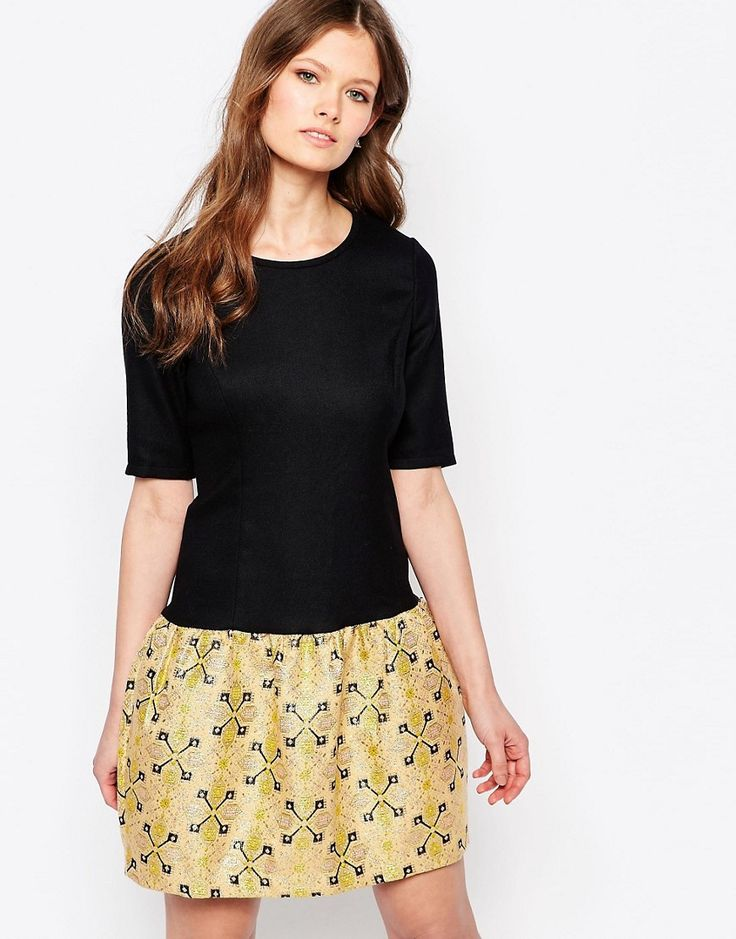 Get this Traffic People's short skirt now! Click for more details. Worldwide shipping. Traffic People Changeling Dress With Jacquard Skirt - Gold: Casual dress by Traffic People, Cotton-mix woven fabric, Round neckline, Jacquard skirt, Zip back fastening, Slim fit - cut close to the body, Dry clean, 70% Polyester, 30% Cotton, Our model wears a UK S/EU S/US XS and is 170cm/5'7� tall. (falda corta, minifaldas, minifalda, corta, cortas, mini, kurzer rock, falda corta, jupe courte, gonna…