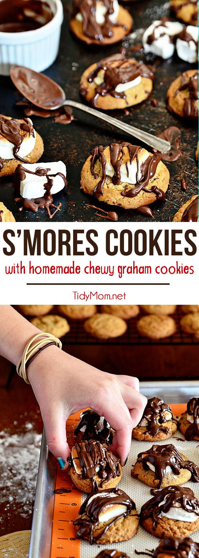 Take a homemade chewy graham cookie, top it with toasted marshmallow and crown it with a drizzle of chocolate and you have S'mores Cookies! A fun twist on the classic campfire treat, no fire needed. Full printable recipe at TidyMom.net