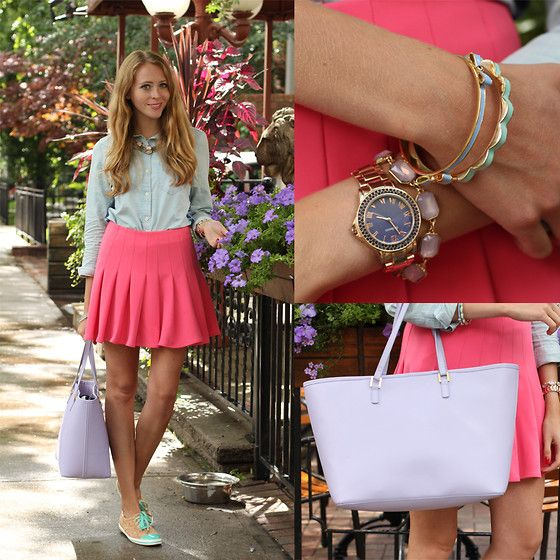 Joe Fresh Denim Chambray Shirt, H&M Pink Skirt, Kate Spade Cork Sneakers, Tote, Forever 21 Bangles, Macy's Rosegold Watch