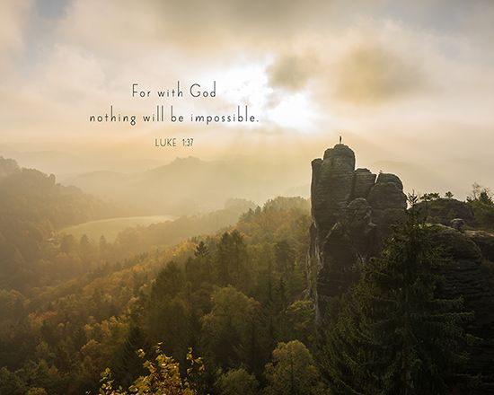 """For with God nothing will be impossible."" Luke 1:37   This Bible verse is available as 8X10 inch ready to frame wall art. Please click the picture for the link."
