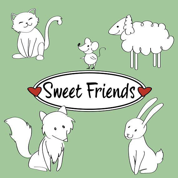 Illustrazione dolci amici: volpe gatto coniglio topo e