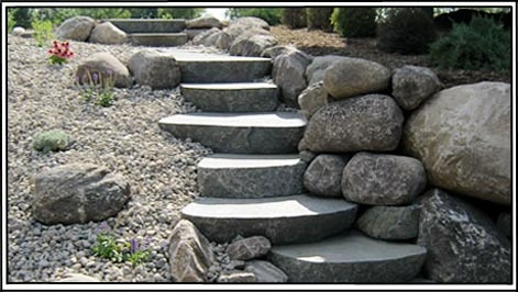 Rock stairs to match.