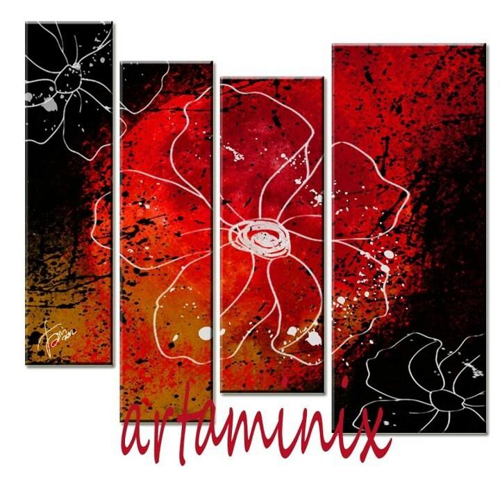 Abstract flowers #art paint#handmade cute#red #black #cute