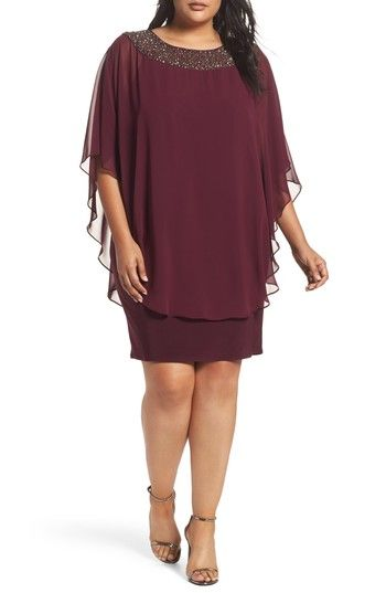 aa7a028846d Free shipping and returns on Xscape Embellished Chiffon Overlay Jersey  Sheath Dress (Plus Size) at Nordstrom.com. A poncho-inspired chiffon  overlay drapes ...