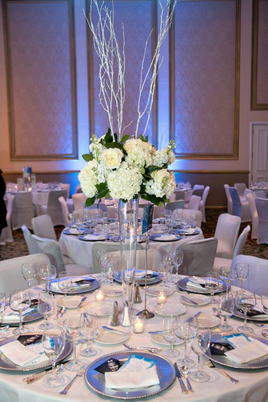 Winter wonderland centerpiece adolphus gala winter wedding