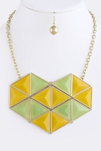 "Green And Yellow Acrylic and Gold Jewel Drape Collar Necklace -Origami Heart Gold Accent Layered Necklace StarShine Jewelry. $20.20. Matching earrings come as set. Lead and nickel compliant.. Origami heart necklace. Length approx 20"". Lobster claw clasp with 3"" extender. Heart 4.5"" x 3.5"""