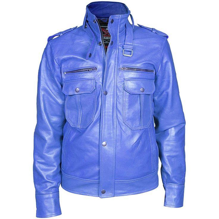 Men Blue Biker Leather Jacket