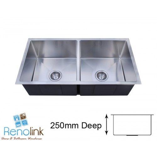 Kitchen sinks : 875 x 450 x 250mm STAINLESS STEEL HAND MADE KITCHEN SINK TOP/UNDER MOUNT ATA875D
