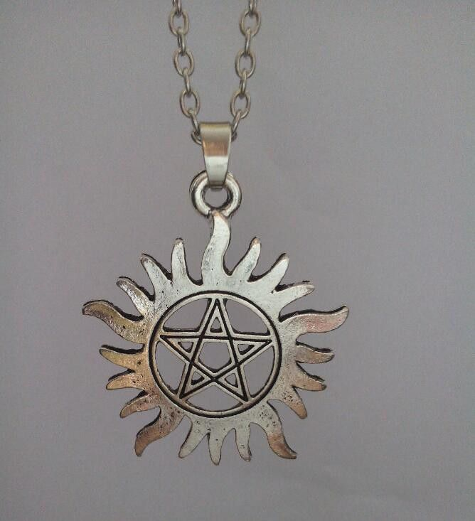 Supernatural Anti Possession Silver Tone Charm Pendant Necklace (Free Shipping)