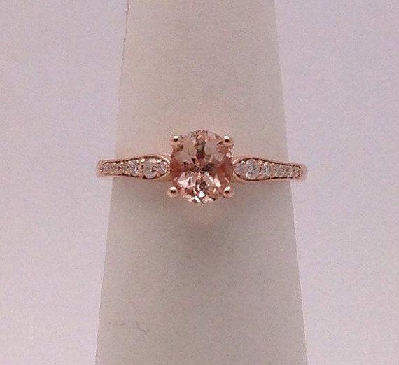 639$ 1 Carat Morganite Rose Gold Ring - Solitaire with Diamonds 14K Engagement Wedding Ring