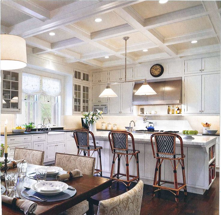 White Coffered Ceiling And White Kitchen Cabinets