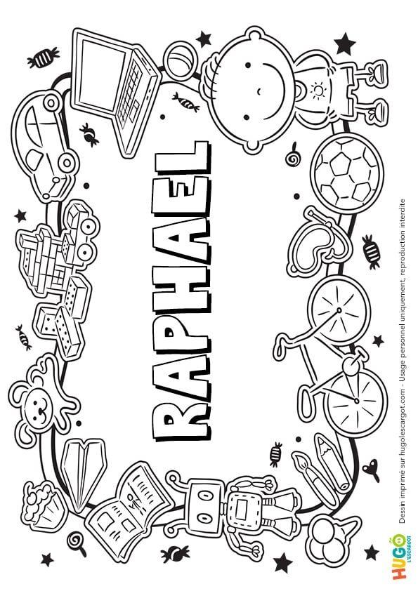 Coloriage Et Illustration Du Prenom Raphael Le Prenom Est Ecrit Dans Le Style Petite Colline Une Imprimante Et D Coloriage Prenom Prenom Garcon Le Prenom