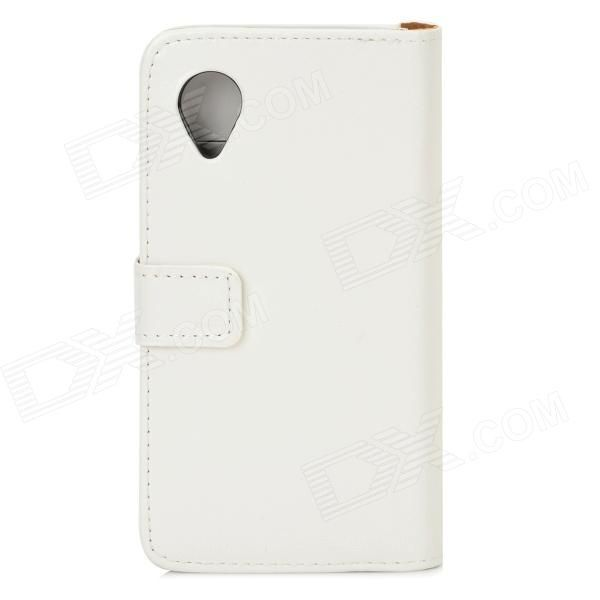 Protective PU Leather Case w/ Stand / Card Slots for LG Nexus 5 E980 / D820 - White
