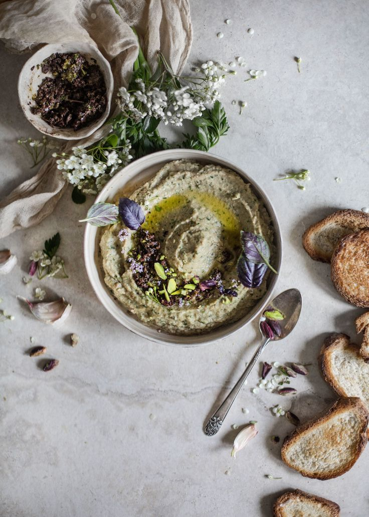 Lupini Bean (or chickpea) & Shallot Baba Ghanoush with Mint Olive Caviar - Hortus Natural Cooking