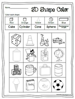 Worksheet Three Dimensional Shapes Worksheets 1000 images about kindergarten math 3 d shapes on pinterest 3d shapes