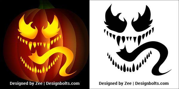 5 Venom Pumpkin Carving Stencils  Printable Patterns