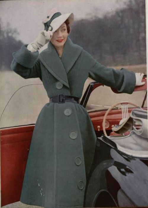Jacques Fath coat, L'Officiel de la Mode, 1951.