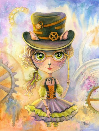"""Available Original Painting """"Lulu Cat Girl""""Watercolor on paper.Size:12,7 x 16,7 inches (32,5cm x 42,5cm)"""